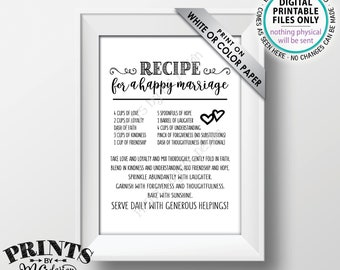 """Recipe for a Happy Marriage Sign,  Bridal Shower Gift, Key to a Happy Marriage, Wedding Advice for Marriage, PRINTABLE 5x7"""" Sign <ID>"""