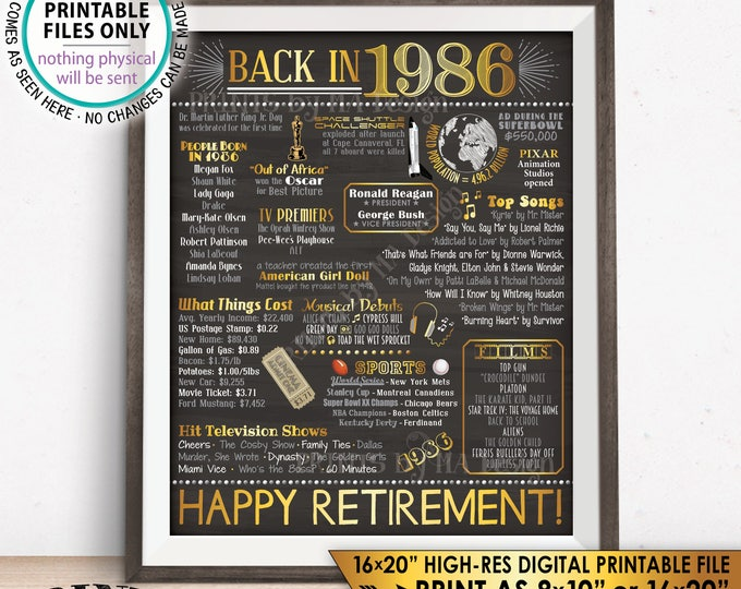 "Retirement Party Decorations, Back in 1986 Poster, Flashback to 1986 Retirement Party Decor, Chalkboard Style PRINTABLE 16x20"" Sign <ID>"