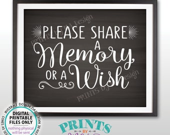 """Share a Memory or a Wish Sign, Write a Memory, Share Memories, Birthday, Retirement, Graduation, PRINTABLE 8x10"""" Chalkboard Style Sign <ID>"""