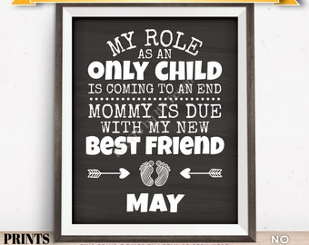 Baby Number 2 Pregnancy Announcement, My Role as an Only Child is Coming to an End in MAY Dated Chalkboard Style PRINTABLE Sign <ID>