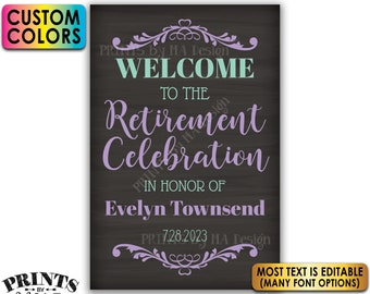 """Retirement Party Sign, Welcome to the Retirement Celebration, Custom PRINTABLE Chalkboard Style 24x36"""" Sign <Edit Yourself with Corjl>"""