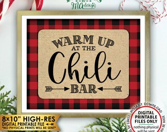 """Warm Up at the Chili Bar Sign, Lumberjack Chili Sign, Chili Buffet Sign, Red Checker Christmas Decorations, PRINTABLE 8x10"""" Instant Download"""