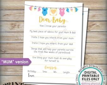 "Dear Baby Shower Activity, Baby Shower Game, Baby Advice Game, UK/Austraila Mum Version, Gender Neutral 5x7"" Printable Instant Download"
