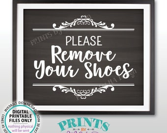 """Please Remove Your Shoes Sign, Take Off Your Shoes Entryway Home Entrance Sign, Mudroom, PRINTABLE 8x10"""" Chalkboard Style Sign for Home <ID>"""