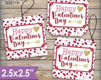 """Valentine's Day Tags, Valentines Day Cards, Treat Bag, Valentine's Goodie Bag, School Valentines, 2.5"""" tags on PRINTABLE 8.5x11"""" Sheet <ID>"""