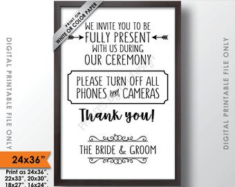 """Unplugged Ceremony Sign, No Phones or Cameras, Unplugged Wedding Sign, Unplugged Sign, Turn off Phones, 24x36"""" Printable Instant Download"""