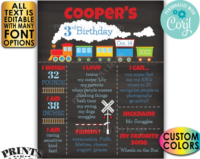 Train Birthday Poster, Train Theme Bday Board, Yearly Stats Milestones, Custom PRINTABLE Chalkboard Style Sign <Edit Yourself with Corjl>