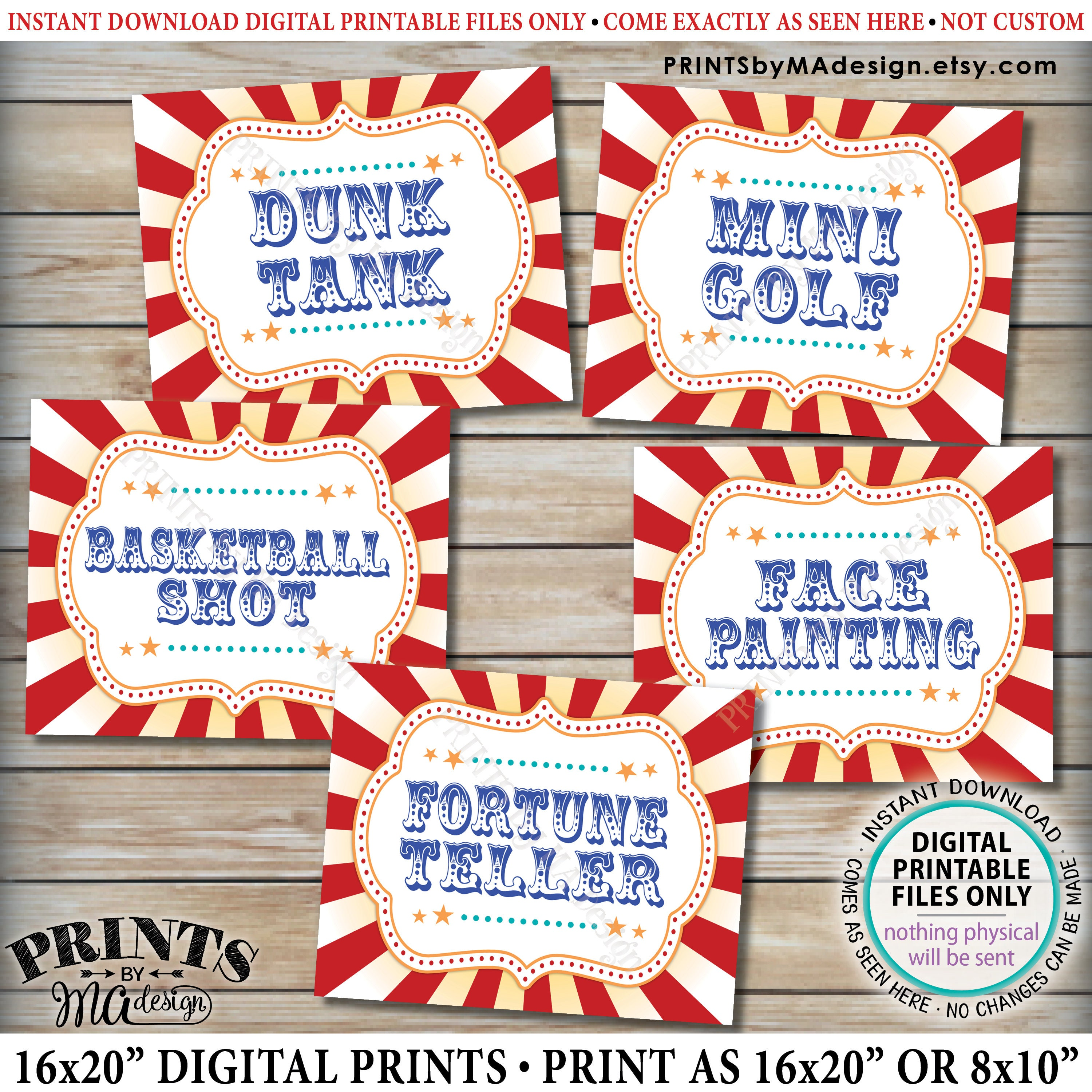 12 Fun Circus Carnival Party Games: Carnival Games Signs Carnival Activities Circus Party Dunk