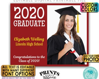 "Editable Graduation Sign, Grad Lawn or Yard Sign, Add Your Own Photos, PRINTABLE 8x10/16x20"" Grad Party Decoration <Edit Yourself w/Corjl>"