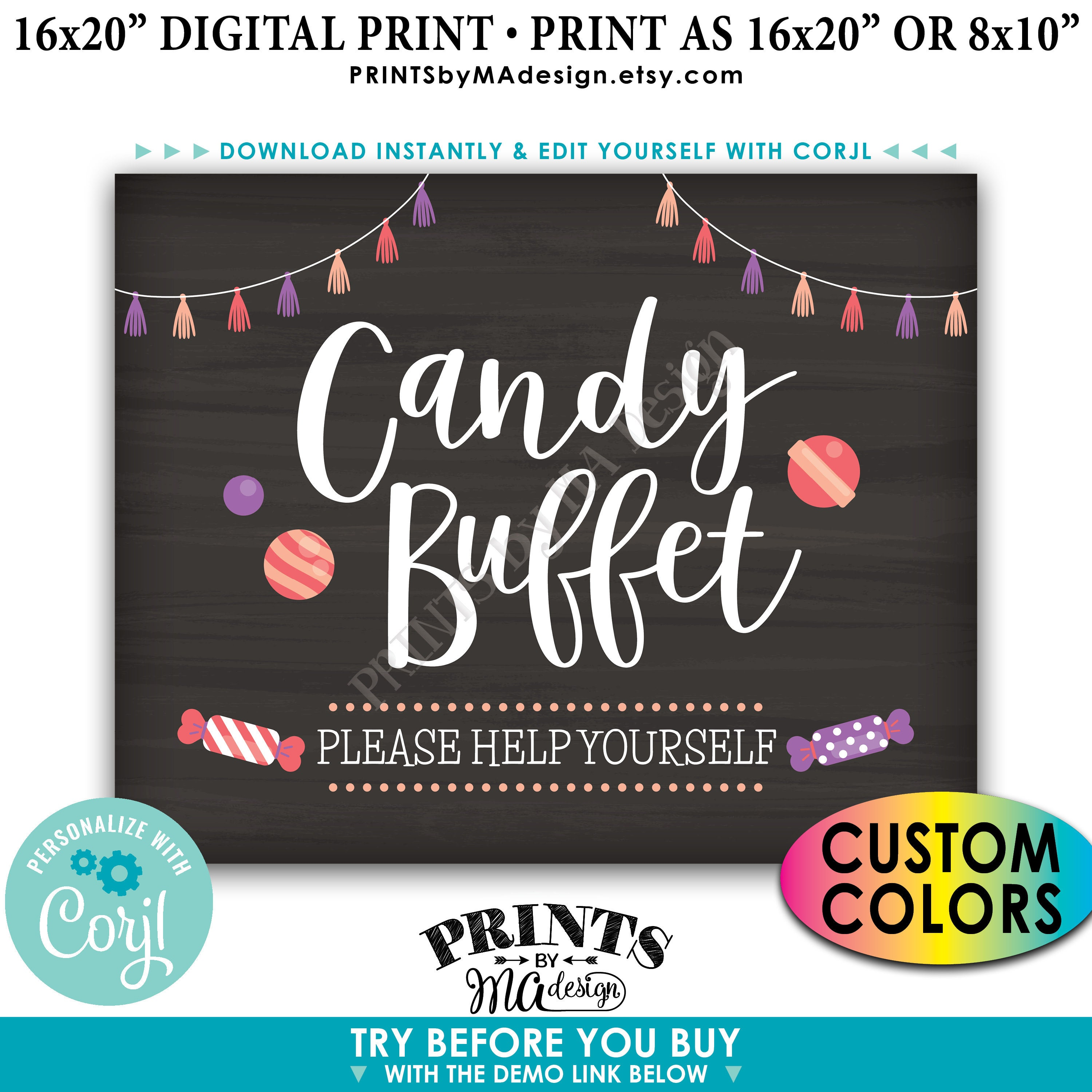 Candy Buffet Sign, Please Help Yourself, Birthday ...