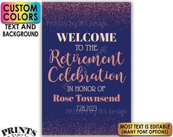 """Retirement Party Sign, Welcome to the Retirement Celebration, Rose Gold Glitter, Custom PRINTABLE 24x36"""" Sign <Edit Yourself with Corjl>"""