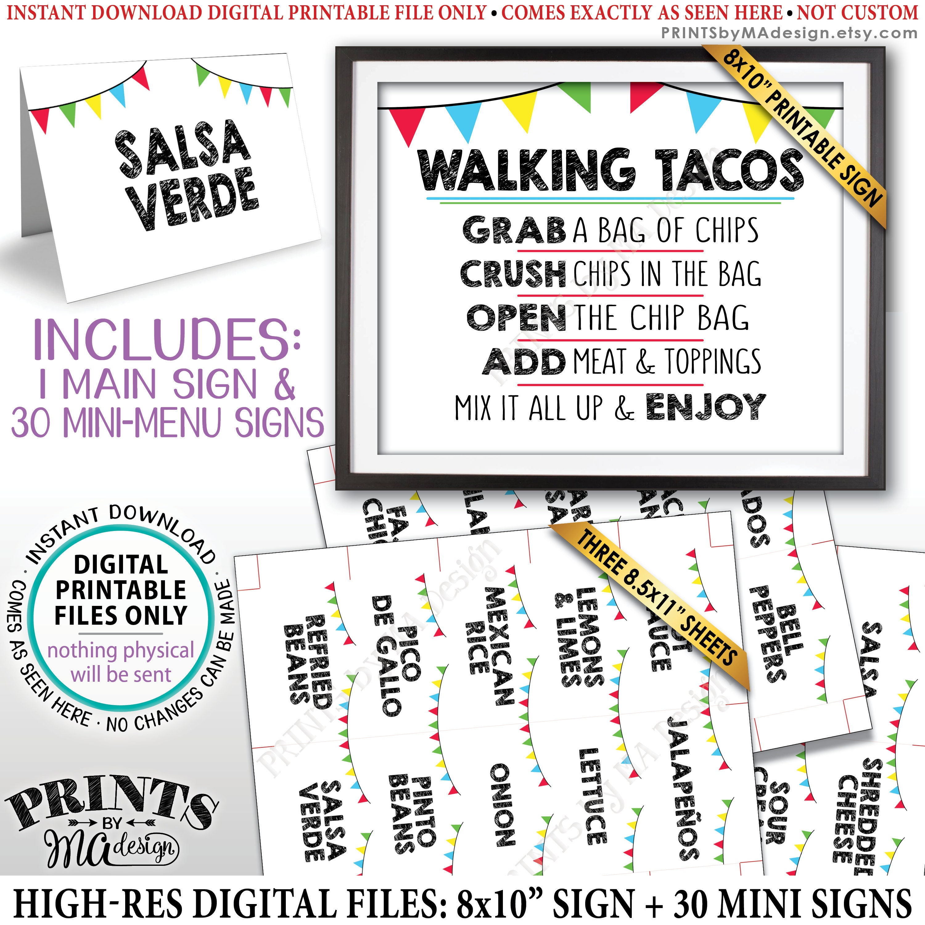 Walking Tacos Sign And Labels Build Your Own Taco Buffet Taco Bar