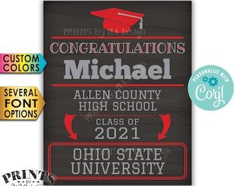 "Congratulations Graduate Sign, Graduation Party Decorations, Future College, PRINTABLE 16x20"" Chalkboard Style Sign <Edit Yourself w/Corjl>"
