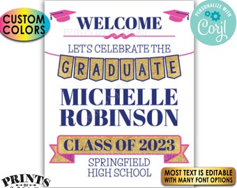 """Graduation Party Welcome Sign, Gold Glitter, Custom PRINTABLE 8x10/16x20"""" Grad Party Decoration <Edit Yourself with Corjl>"""
