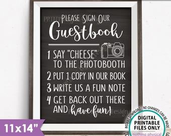 """Guestbook Photobooth Sign, Add photo to the Guest Book Sign, Photo Booth, Chalkboard Style PRINTABLE 11X14"""" Instant Download Wedding Sign"""