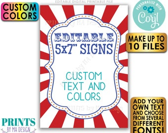 """Editable Carnival Signs, Circus Theme, Birthday Party, Festival, Up to 10 Custom PRINTABLE 5x7"""" Portrait Signs <Edit Yourself w/Corjl>"""