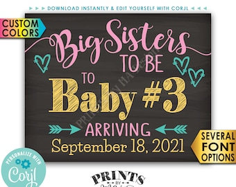 Big Sisters to Baby #3 Pregnancy Announcement, Baby Number 3, PRINTABLE Chalkboard Style 3rd Baby Reveal Sign <Edit Yourself with Corjl>