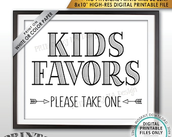 "Kids Favors Sign, Please Take One Wedding Reception Activities for Kids Favors for Kids Table, PRINTABLE 8x10"" Instant Download Wedding Sign"