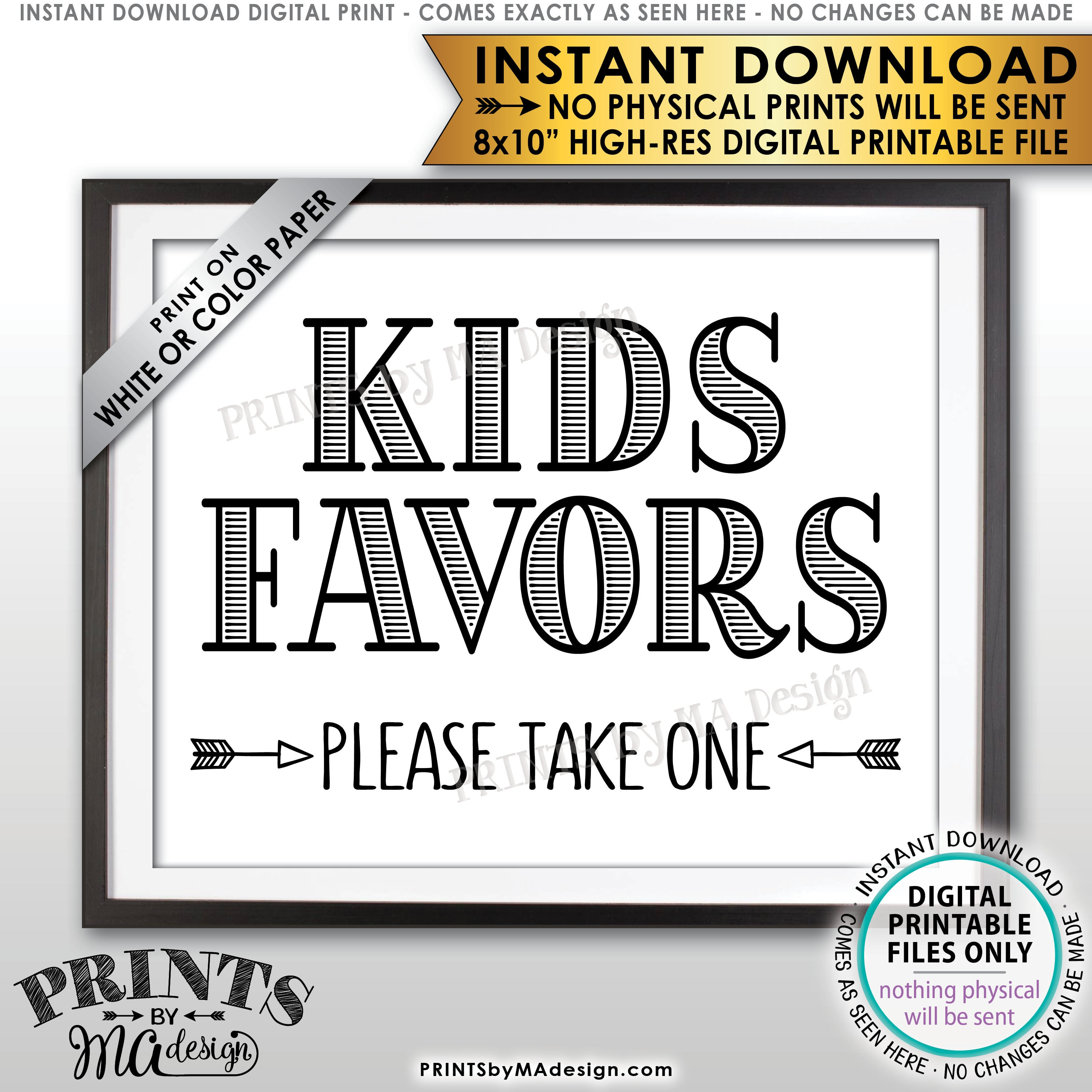 Kids Favors Sign Please Take One Wedding Reception Activities For