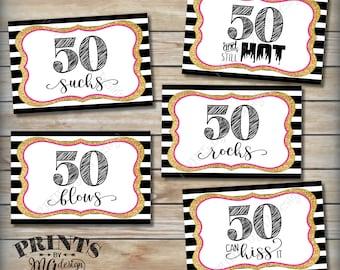 "50th Birthday Candy Signs, 50 Sucks Rocks Blows Kiss It Still Hot, Fiftieth Candy Bar, 5 PRINTABLE Black/Pink/Gold Glitter 4x6"" Signs <ID>"