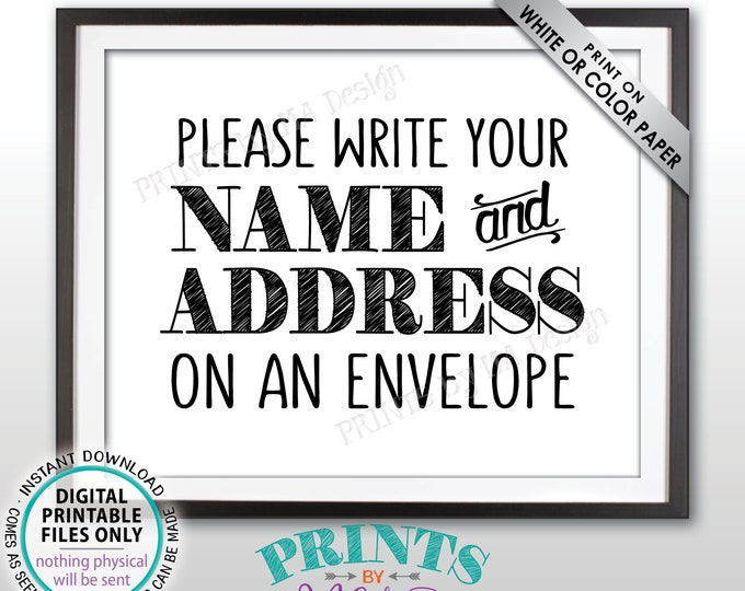 "Address an Envelope Sign, Bridal Shower, Gaduation Party, Birthday Celebration, Retirement, Wedding, PRINTABLE 8x10"" Addressee Sign <ID>"