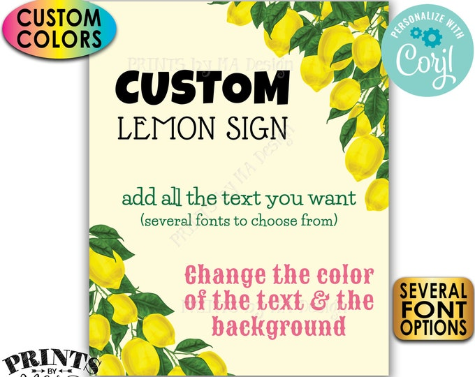 "Custom Lemon Sign, Choose Your Text, Custom Colors, Lemonade, One PRINTABLE 8x10/16x20"" Portrait Sign <Edit Yourself with Corjl>"