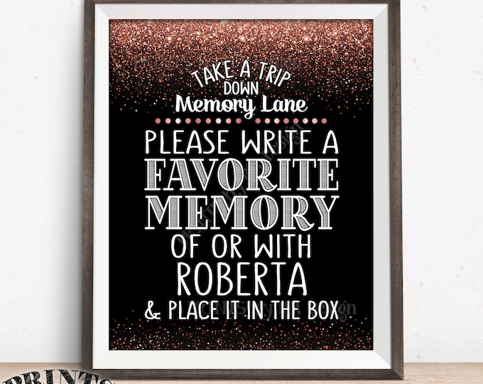 """Share a Memory Sign, Take a Trip Down Memory Lane & Share a Memory, Place in Box, Birthday Party, Retirement, 8x10"""" PRINTABLE Rose Gold Sign"""