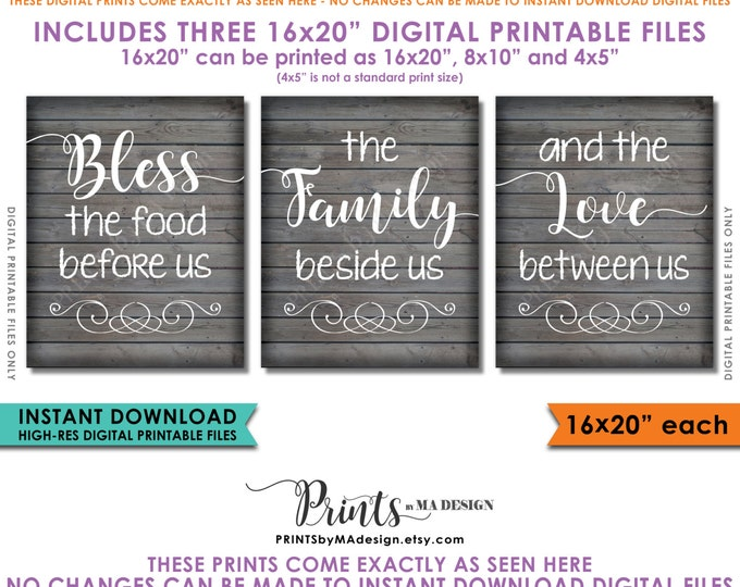 """Bless the Food Before Us The Family Beside Us the Love Between Us Kitchen Wall Decor 16x20"""" Rustic Wood Style Instant Download Printables"""