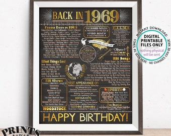 """Back in the Year 1969 Birthday Sign, Flashback to 1969 Poster Board, '69 B-day Gift, Bday Decoration, PRINTABLE 16x20"""" Sign <ID>"""