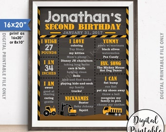 """Truck Birthday Poster, Tractor Birthday Personalized Milestones Sign, Yellow Truck B-day, Chalkboard Style PRINTABLE 8x10/16x20"""" B-day Sign"""