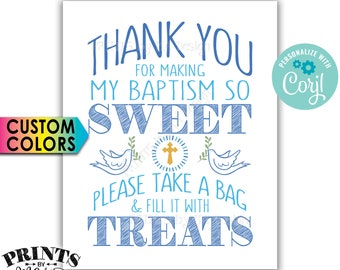 """Thank You for Making My Baptism so Sweet Please take a Bag and Fill it with Treats, PRINTABLE 8x10"""" Sign <Edit Yourself with Corjl>"""