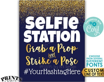 """Selfie Station Sign, Grab a Prop & Strike a Pose, Custom Text, Navy Blue and Gold PRINTABLE 8x10/16x20"""" Sign <Edit Yourself with Corjl>"""