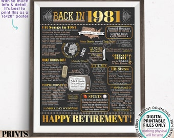 """Back in 1981 Retirement Party Sign, Flashback to 1981 Poster Board, PRINTABLE 16x20"""" Retirement Party Decoration <ID>"""