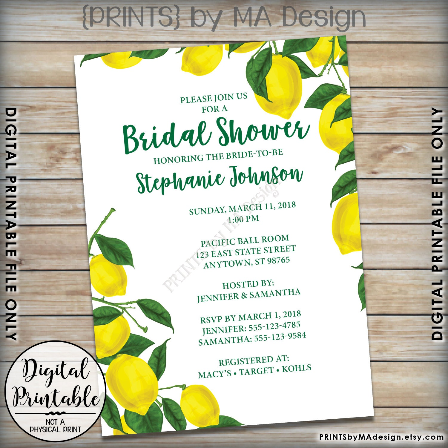 Lemon bridal shower invitation lemon invitation lemon shower tuscan tropical bridal shower invitation 5x7 digital printable file gallery photo gallery photo gallery photo filmwisefo