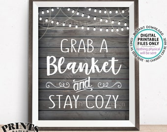 """Blanket Sign, Grab a Blanket & Stay Cozy, Warm Up Here Rustic Wedding Sign, Warm Favors, Chilly, PRINTABLE 8x10"""" Rustic Wood Style Sign <ID>"""