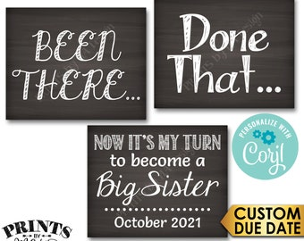 4th Baby Pregnancy Announcement, Been There Done That Now It's My Turn to Become a Big SISTER, PRINTABLE Signs <Edit Yourself with Corjl>