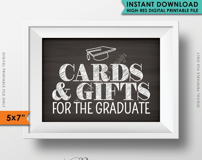 """Cards & Gifts Graduation Party Sign, Cards and Gifts for the Graduate, Gifts for the Grad, 5x7"""" Chalkboard Style Printable Instant Download"""