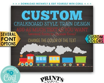 """Custom Train Sign, Railroad Birthday Party, Choose Your Text PRINTABLE 16x20"""" Chalkboard Style Landscape Sign <Edit Yourself with Corjl>"""