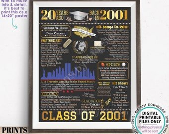 """20th High School Reunion Decoration, Class of 2001 Graduated 20 Years Ago, Back in the Year 2001 Poster Board, PRINTABLE 16x20"""" Sign <ID>"""