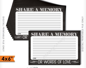 """Share a Memory Card, Share Memories, Please Leave a Memory, Memorial Card, Chalkboard Style 4x6"""" Instant Download Digital Printable File"""