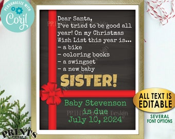 Christmas Pregnancy Announcement, Wish for Baby Brother or Sister, Custom PRINTABLE Xmas Sign, Dear Santa <Edit Yourself with Corjl>