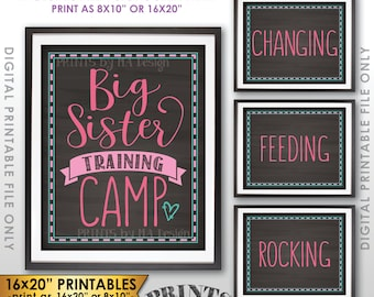 """Baby #2 Pregnancy Announcement, Big Sister Training Camp Photo Props, We're Pregnant, Four Chalkboard Style PRINTABLE 8x10/16x20"""" Signs <ID>"""