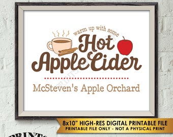 "Hot Apple Cider Sign, Custom Cider Sign, Autumn Festivities, Signature Drink Sign, Fall Apple Orchard Sign, PRINTABLE 8x10"" Apple Cider Sign"