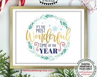 """It's the Most Wonderful Time of the Year Wall Art, Christmas Decoration, Xmas Decor, PRINTABLE 8x10/16x20"""" Sign <ID>"""