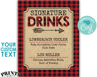 """Lumberjack Signature Drinks Sign, Christmas Party Cocktails, Checker Buffalo Plaid, PRINTABLE 8x10/16x20"""" Sign <Edit Yourself with Corjl>"""