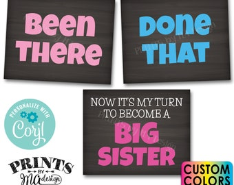 Pregnancy Announcement, Been There Done That Now it's My Turn to Become a Big Sister, PRINTABLE Baby #4 Reveal Signs <Edit Yourself w/Corjl>