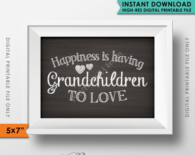 Grandchildren Sign, Happiness is Having Grandchildren to Love, Gift for Grandparents Gift, Grandkid, Instant Download Digital Printable File