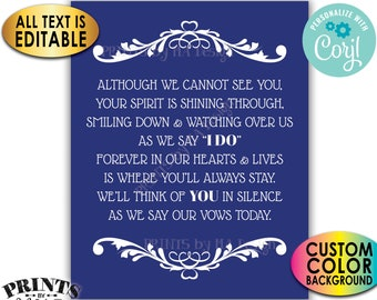 """Heaven Wedding Sign, Although We Cannot See You, Memorial Table, PRINTABLE 8x10/16x20"""" Tribute Sign <Edit Yourself with Corjl>"""