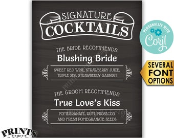 """Signature Cocktails Sign, Bride & Groom Recommend, PRINTABLE 8x10/16x20"""" Chalkboard Style Wedding Drinks Sign <Edit Yourself w/Corjl>"""
