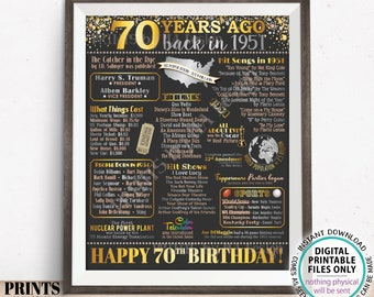 """70th Birthday Poster Board, Back in the Year 1951 Flashback 70 Years Ago B-day Gift, PRINTABLE 16x20"""" Born in 1951 Sign <ID>"""